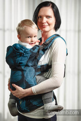 Ergonomic Carrier, Toddler Size, jacquard weave 100% cotton - wrap conversion from FEATHERS TURQUOISE & BLACK