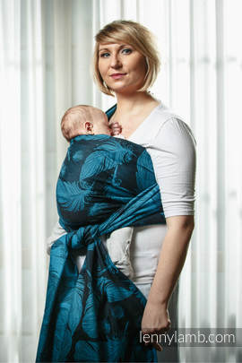 Baby Wrap, Jacquard Weave (100% cotton) - Feathers Turquoise & Black - size XL