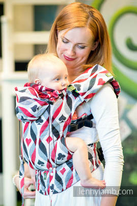 Ergonomic Carrier, Baby Size, jacquard weave 100% cotton - QUEEN OF HEARTS - Second Generation (grade B)