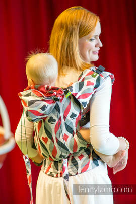Ergonomic Carrier, Toddler Size, jacquard weave 100% cotton - wrap conversion from QUEEN OF HEARTS - Second Generation