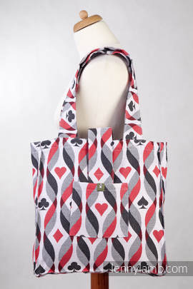 Shoulder bag made of wrap fabric (100% cotton) - QUEEN OF HEARTS- standard size 37cmx37cm