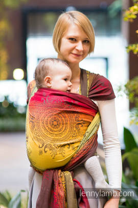 Baby Wrap, Jacquard Weave (100% cotton) - NOBLE INDIAN PEACOCK, size XS (grade B)