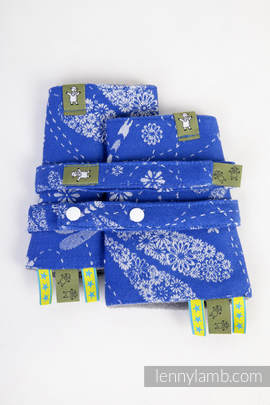 Drool Pads & Reach Straps Set, (100% cotton) - DRAGONFLY BLUE & WHITE