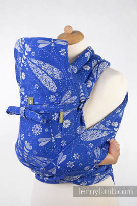 Mei Tai carrier Toddler with hood/ jacquard twill / 100% cotton / DRAGONFLY BLUE & WHITE