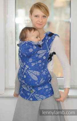 Ergonomic Carrier, Toddler Size, jacquard weave 100% cotton - wrap conversion from DRAGONFLY BLUE & WHITE - Second Generation