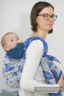 Ringsling, Jacquard Weave (100% cotton) - with gathered shoulder - DRAGONFLY WHITE & BLUE