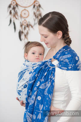 Ringsling, Jacquard Weave (100% cotton) - DRAGONFLY BLUE & WHITE