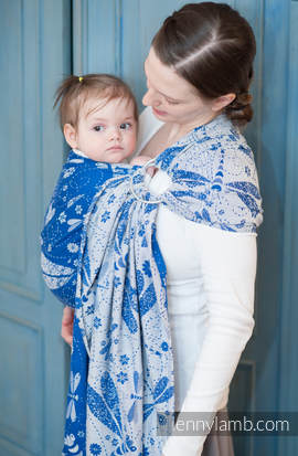 Ringsling, Jacquard Weave (100% cotton) - DRAGONFLY WHITE & BLUE