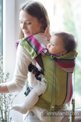Ergonomic Carrier, Baby Size, broken-twill weave 100% cotton - wrap conversion from LIME & KHAKI, Second Generation