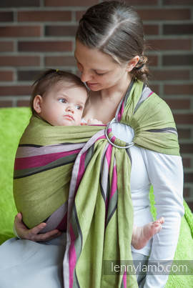 Ring Sling - 100% Cotton - Broken Twill Weave, with gathered shoulder -  Lime & Khaki (grade B)