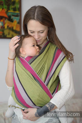 Baby Sling, Broken Twill Weave - Lime & Khaki - size S