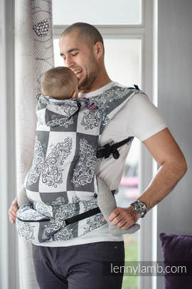 Ergonomic Carrier, Toddler Size, jacquard weave 100% cotton - wrap conversion from SILVER BUTTERFLY - Second Generation