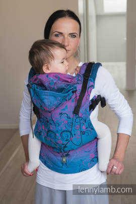 Ergonomic Carrier, Baby Size, jacquard weave 100% cotton - wrap conversion from DREAM TREE BLUE & PINK, Second Generation