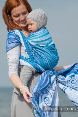 Baby Wrap, Jacquard Weave (100% cotton) - BLUE WAVES 2.0 - size S (grade B)