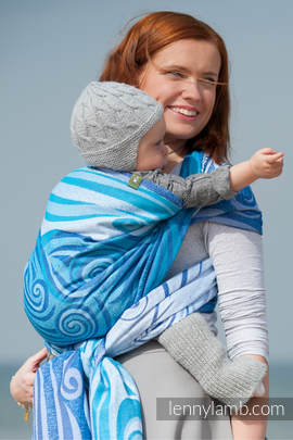Baby Wrap, Jacquard Weave (100% cotton) - BLUE WAVES 2.0 - size XS (Grade B)
