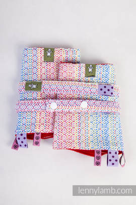 Drool Pads & Reach Straps Set, (60% combed cotton, 28% Meriono wool, 8% silk, 4% cashmere) - LITTLE LOVE - DAZZLE (grade B)
