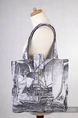 Shoulder bag made of wrap fabric (100% cotton) - GALLEONS BLACK & WHITE - standard size 37cmx37cm