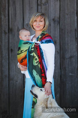 Ringsling, Jacquard Weave (100% cotton), with gathered shoulder - RAINBOW SAFARI 2.0 (grade B)