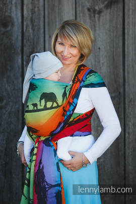 Baby Wrap, Jacquard Weave (100% cotton) - RAINBOW SAFARI 2.0 - size XS