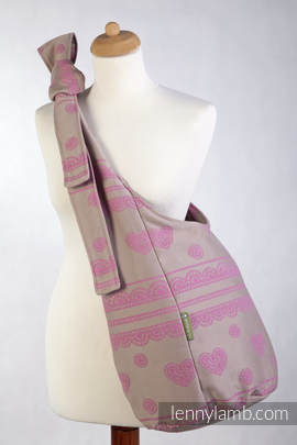 Hobo Bag made of woven fabric, 100% cotton - CANDY LACE, Reverse (grade B)