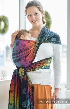 Baby Wrap, Jacquard Weave (100% cotton) - RAINBOW LACE DARK - size XS