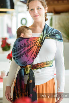 Baby Wrap, Jacquard Weave (100% cotton) - RAINBOW LACE DARK - size S