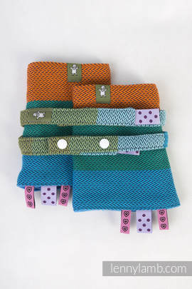 Drool Pads & Reach Straps Set, (100% cotton) - LITTLE HERRINGBONE LANTANA  (grade B)