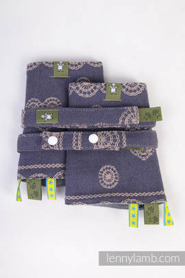 Drool Pads & Reach Straps Set, (100% cotton) - BLUEBERRY LACE (grade B)