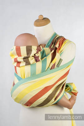 WRAP-TAI carrier Mini, broken-twill weave - 100% cotton - with hood, SUNNY SMILE (grade B)