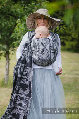 Baby Wrap, Jacquard Weave (60% cotton, 40% linen) - LINEN TIME (without skull) - size L (grade B)