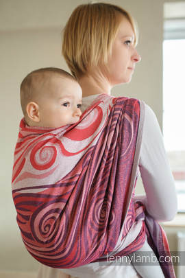 Baby Wrap, Jacquard Weave (100% cotton) - MAROON WAVES - size S