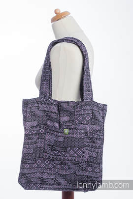 Shoulder bag made of wrap fabric (100% cotton) - ENIGMA PURPLE - standard size 37cmx37cm