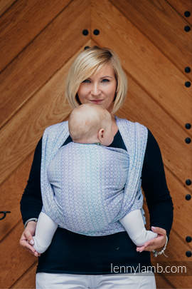 Baby Wrap, Jacquard Weave (60% cotton, 28% merino wool, 8% silk, 4% cashmere) - LITTLE LOVE - SUMMER SKY - size XL