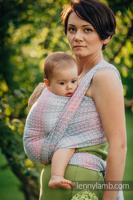 Baby Wrap, Jacquard Weave (60% cotton, 28% merino wool, 8% silk, 4% cashmere) - LITTLE LOVE - ROSE GARDEN - size XS