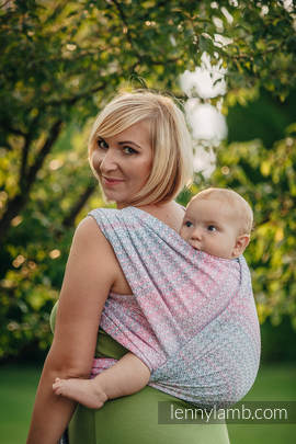 Baby Wrap, Jacquard Weave (60% cotton, 28% merino wool, 8% silk, 4% cashmere) - LITTLE LOVE - ROSE GARDEN - size L