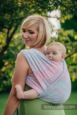 Baby Wrap, Jacquard Weave (60% cotton, 28% merino wool, 8% silk, 4% cashmere) - LITTLE LOVE - ROSE GARDEN - size S