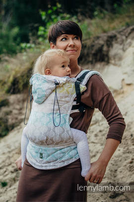 Ergonomic Carrier, Baby Size, jacquard weave 80% cotton, 17% merino wool, 2% silk, 1% cashmere - wrap conversion from DAISY PETALS, Second Generation