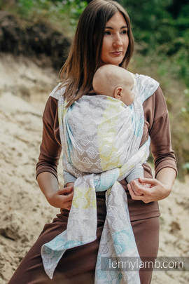 Baby Wrap, Jacquard Weave (80% cotton, 17% merino wool, 2% silk, 1% cashmere) - DAISY PETALS - size XS