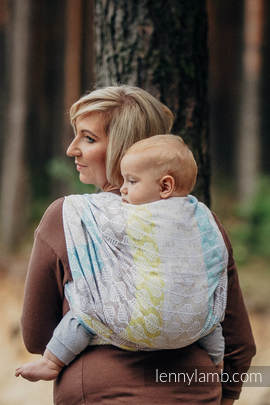 Baby Wrap, Jacquard Weave (80% cotton, 17% merino wool, 2% silk, 1% cashmere) - DAISY PETALS - size L
