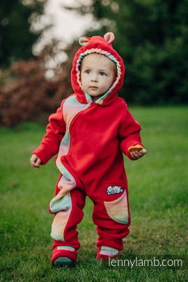 Bear Romper with baby booties - size 62 - red with Little Herringbone Imagination