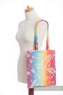 Shopping bag made of wrap fabric (100% cotton) - DRAGONFLY RAINBOW (grade B)