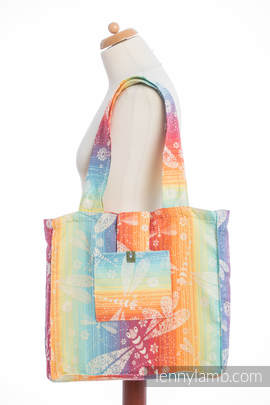 Shoulder bag made of wrap fabric (100% cotton) - DRAGONFLY RAINBOW - standard size 37cmx37cm (grade B)