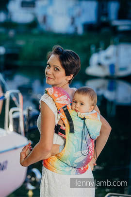 Ergonomic Carrier, Baby Size, jacquard weave 100% cotton - wrap conversion from DRAGONFLY RAINBOW - Second Generation (grade B)