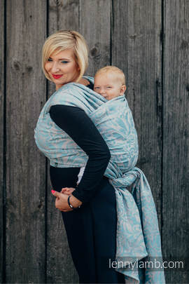 Baby Wrap, Jacquard Weave (60% cotton 28% linen 12% tussah silk) - TWISTED LEAVES GREY & TURQUOISE - size S