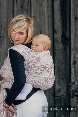 Baby Wrap, Jacquard Weave (60% cotton, 28% merino wool, 8% silk, 4% cashmere) - HEXA FLOWERS PINK  - size L