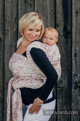 Baby Wrap, Jacquard Weave (60% cotton, 28% merino wool, 8% silk, 4% cashmere) - HEXA FLOWERS PINK  - size XS