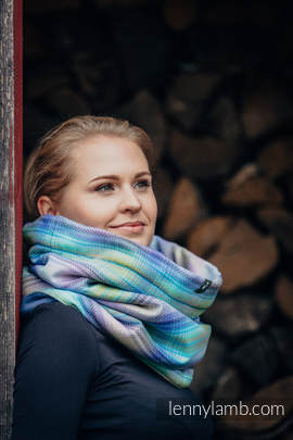 Snood Scarf with Fleece - LITTLE HERRINGBONE PETREA & BLUE
