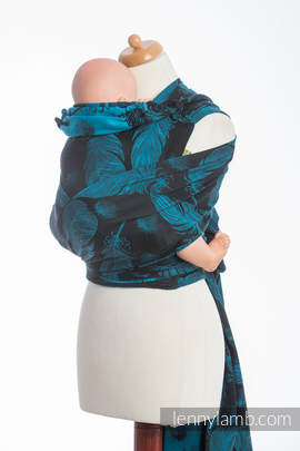 WRAP-TAI carrier Toddler with hood/ jacquard twill / 100% cotton / FEATHERS TURQUOISE & BLACK