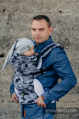 Ergonomic Carrier, Toddler Size, jacquard weave 100% cotton - wrap conversion from GREY CAMO - Second Generation