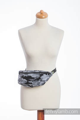 Waist Bag made of woven fabric, (100% cotton) - GREY  CAMO